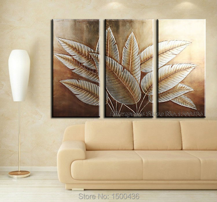 Hand Painted Abstract Canvas Art Tree Leaves 3 Piece