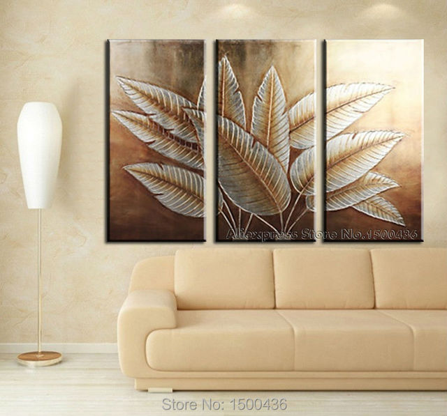 Hand Painted Abstract Canvas Art Tree Leaves 3 Piece Paintings Wall Decor Pictures Modern Oil Set