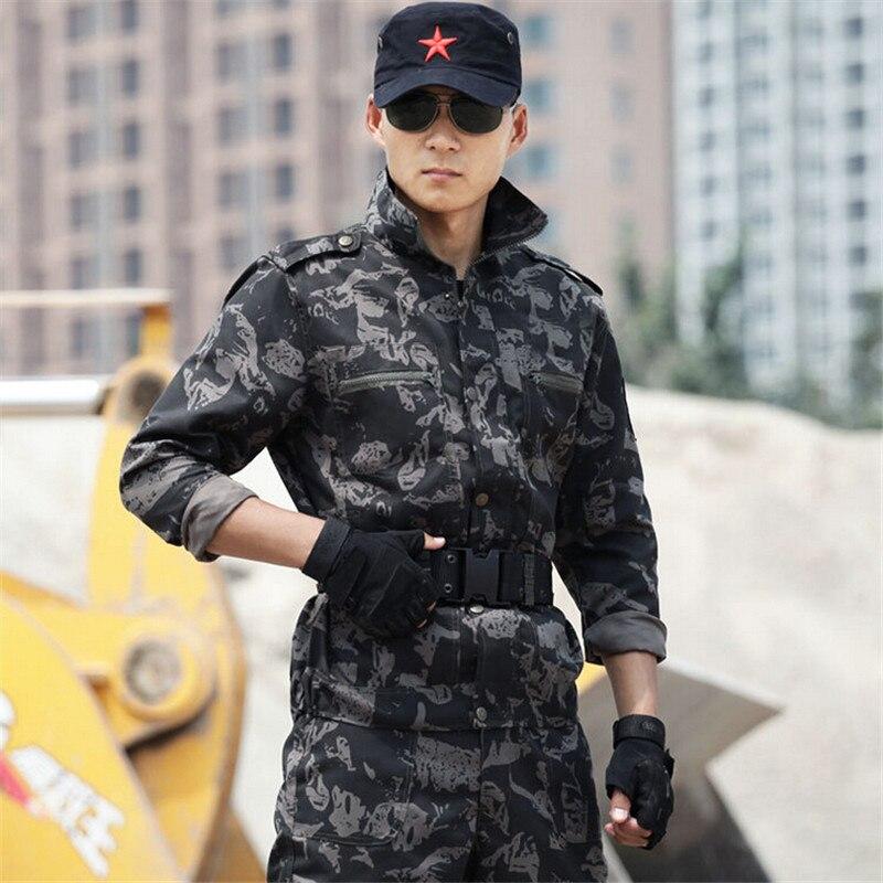 Noir Camouflage militaire armée tactique uniforme imperméable hommes chasse vêtements veste + pantalon ensemble costume grande taille 4XL