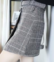 Woolen Plaid Mini Skirt 3 Colors