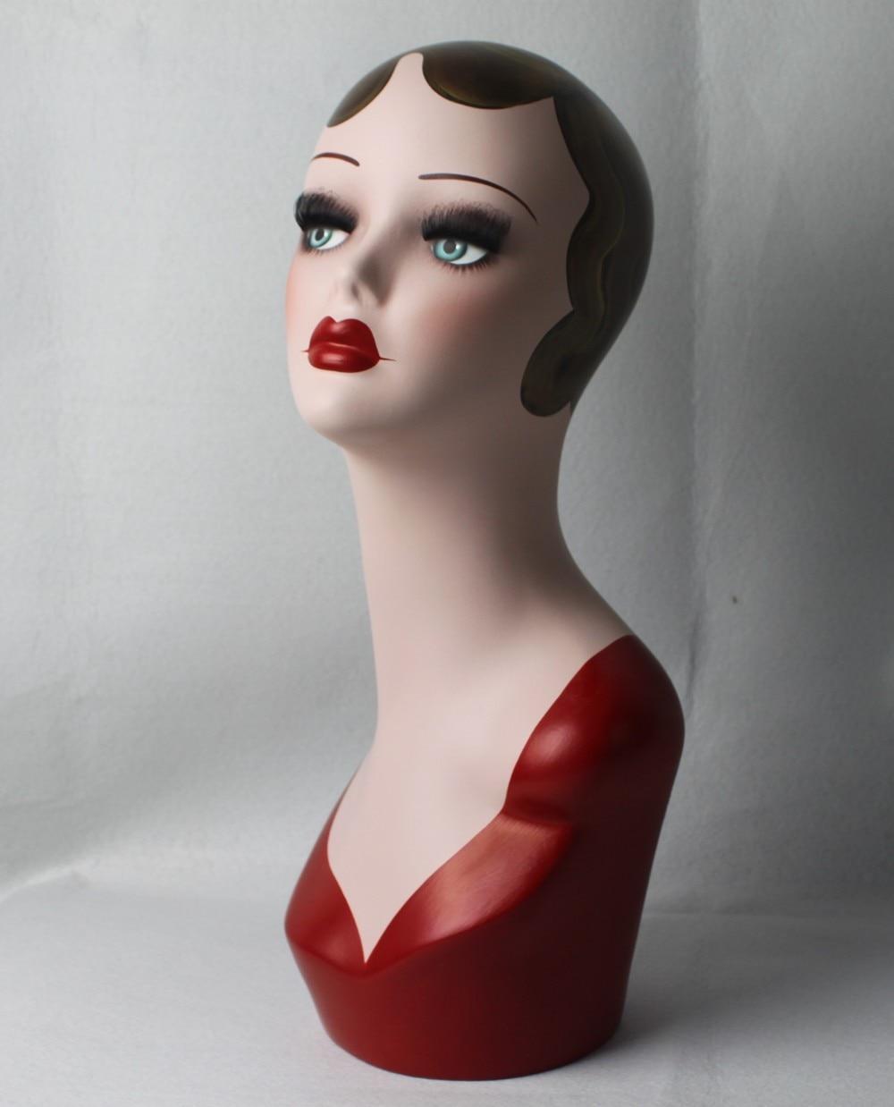 High Quality Fiberglass Vintage Female Mannequin Dummy Head Hat