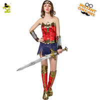 Wonder Woman Costume Fancy Dress Supergirl Masquerade Movie Supergirl Suit Cosplay Halloween Parties for Adult Women