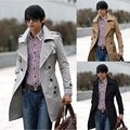 Autumn Winter Trench Coat Long Men Young Male Double-breasted Jacket Casual Slim Korean Style Windbreaker Black Grey Khaki
