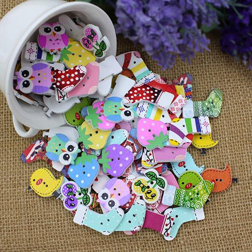 50pcs Lovely Cartoon Animal Wood Buttons 2 Holes DIY Knopf Bouton For Kids font b Baby