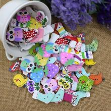 50pcs Lovely Cartoon Animal Wood Buttons 2 Holes DIY Knopf Bouton For Kids Baby  5GBR