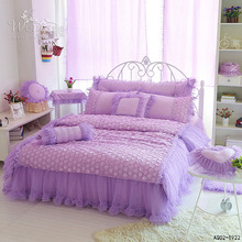2016 Bedding Set Lace Adge Twin Queen Size Quilt Covers Solid Purple Color Fashion Dream Style Home Textile 3/4pcs Duvet Cover