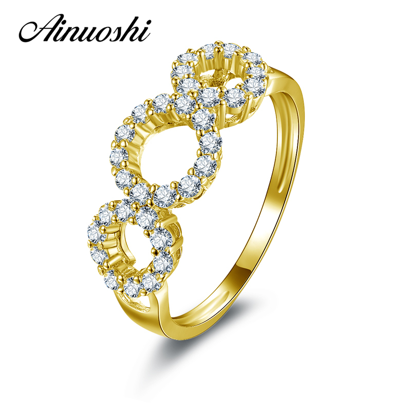 AINUOSHI 10K Solid Yellow Gold Wedding Ring Sona Simulated Diamond Finger Anniversary Twisted Jewelry Bands Women Wedding Rings tr005 sona simulated gem infinity silver color wedding rings for women solid white gold color wedding bands