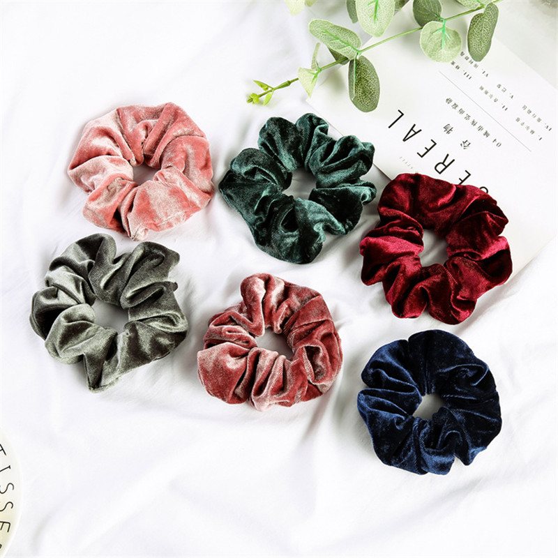 Woman Velvet Scrunchies Solid Hair Ring Ties For Girls Ponytail Holders Rubber Band Elastic Hairband Hair Accessories Headwear(China)