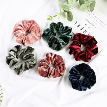 Woman Velvet Scrunchies Solid Hair Ring Ties For Girls Ponytail Holders Rubber Band Elastic Hairband Hair Accessories Headwear 14 colors woman elegant pearl hair ties beads girls scrunchies rubber bands ponytail holders hair accessories elastic hair band