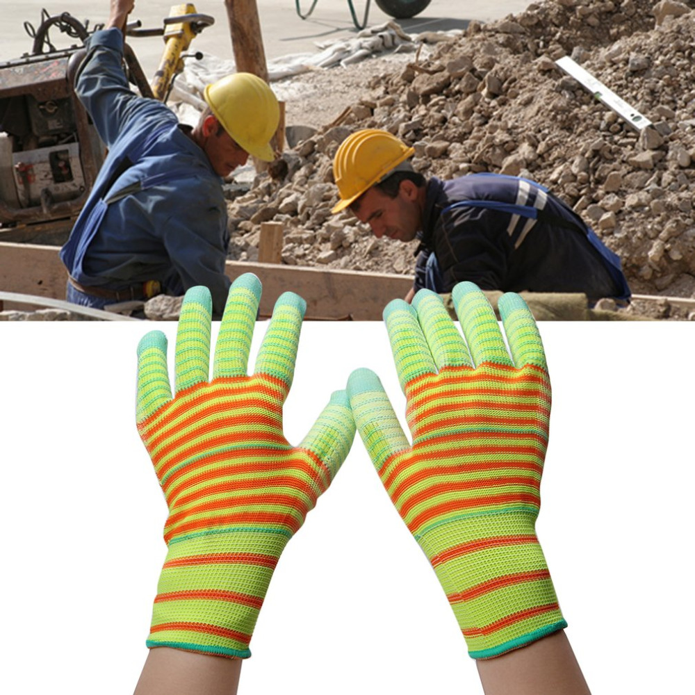 1 Pair Work Gloves Security Protective Wear Safety Nylon Gloves PU Tips Five Fingers Wear-resistant Breathable Non-slip new safurance 10 paris wear resistant nylon nitrle precision protective builders gardening working safety gloves