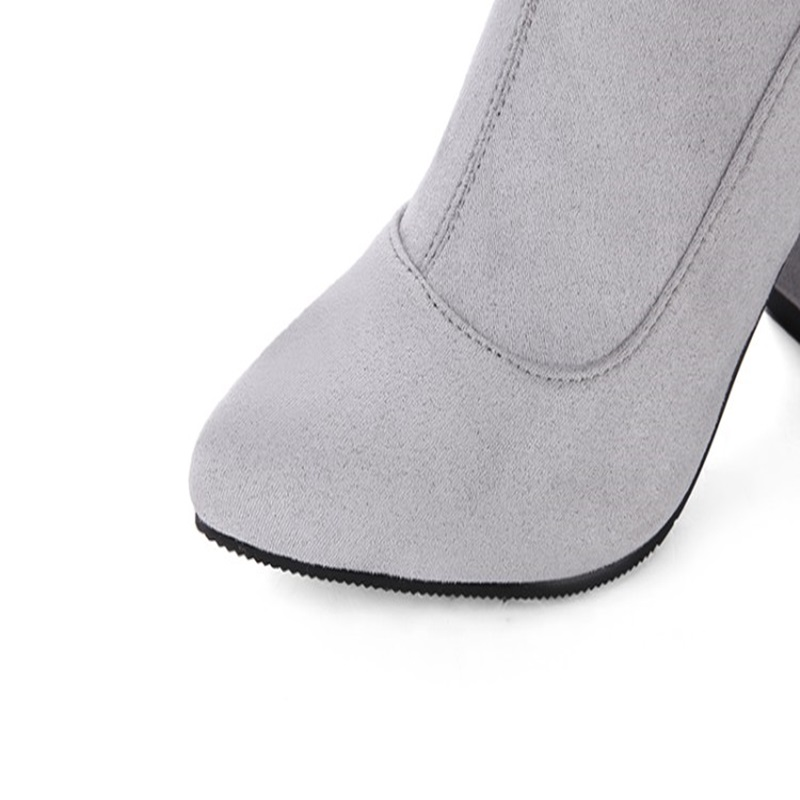 genou the Taille Prix gris Noir Jusqu'à À Femme Affaires Lady Style 2018 Mode Bottes Qualité De Chaussures Super Nouveau 46 Faible Broder Over Haute gBPFqU7w