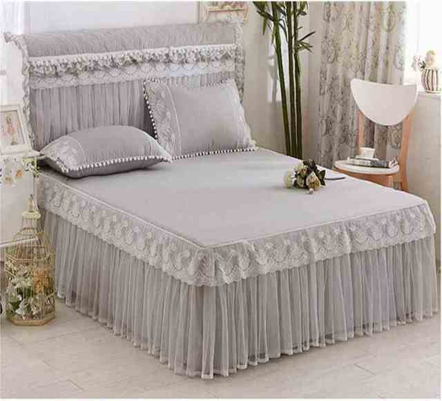 Grey Blue Bed Cover Lace Bedspreads Fitted Sheet Pillowcases 1/3pcs Princess Ruffles Bedding Bed Skirt for 180/200 cm Mattress