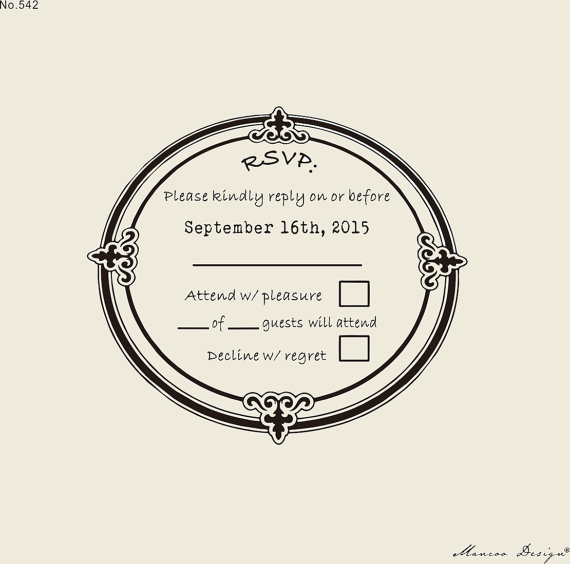 3 X3 Custom Rsvp Rubber Stamp To Create Response Cards Wedding