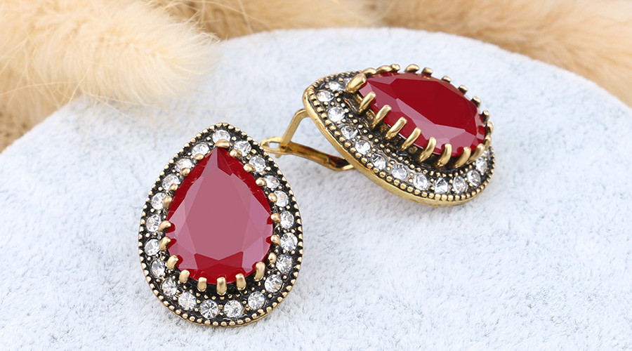HTB1BPGXOVXXXXXiXXXXq6xXFXXXt - Indian Jewelry Designer Fashion Earrings For Women Water Drop Green Resin Sale Wholesale Jewellery Mixed Lots