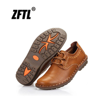 ZFTL New Men casual shoes Genuine Leather male leisure lace up soft leather non slip shoes man business shoes spring/autumn 074