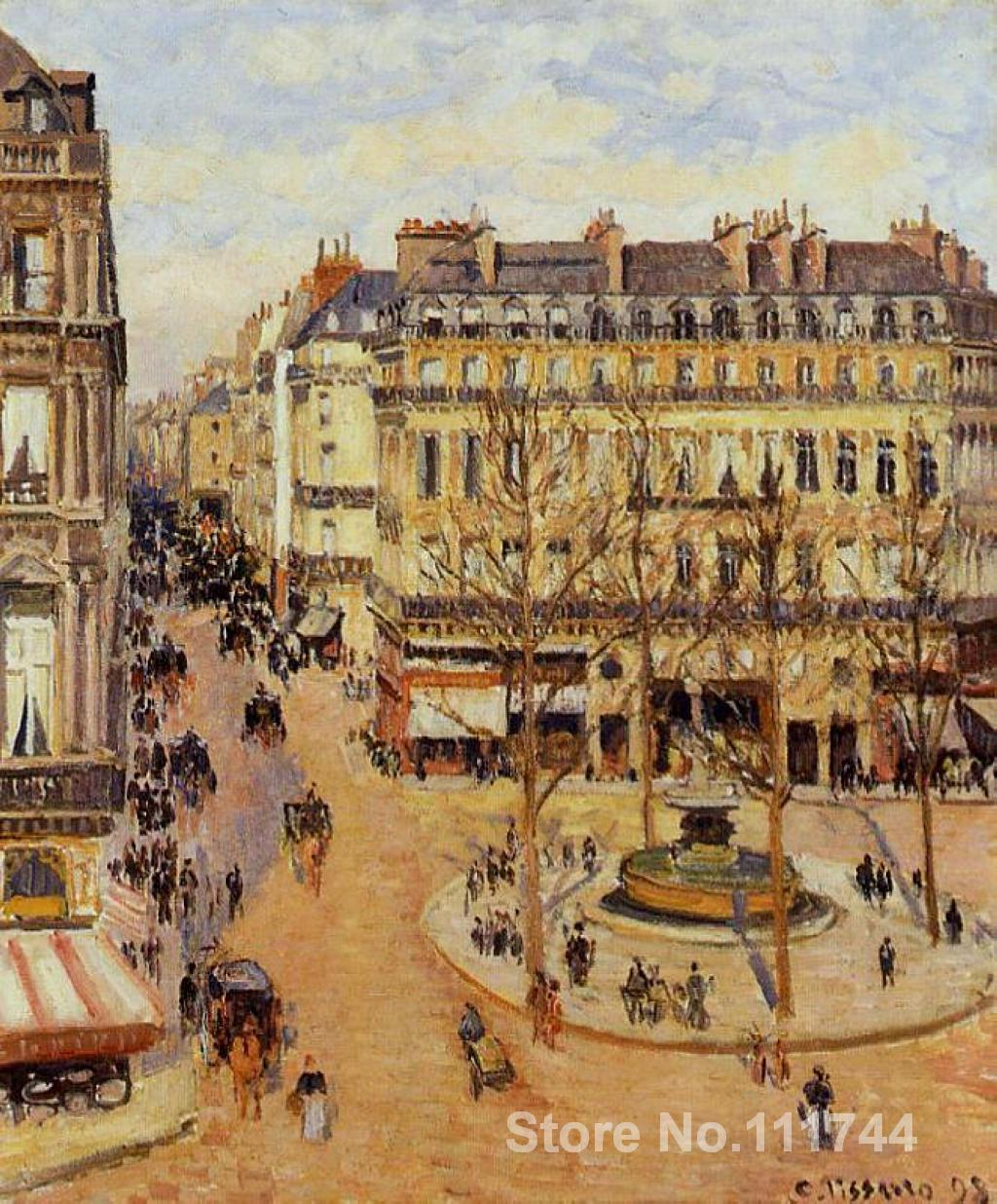 famous artwork Rue Saint Honore Morning Sun Effect Place du Theatre Francais Camille Pissarro paintings High quality Handpaintedfamous artwork Rue Saint Honore Morning Sun Effect Place du Theatre Francais Camille Pissarro paintings High quality Handpainted