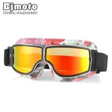 BJMOTO Motorcycle Glasses PU Leather Pilot Aviator Helmet Go
