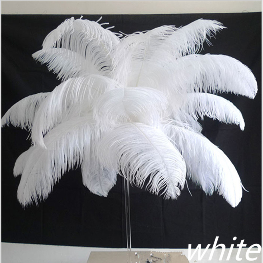 50 pièces naturel plume d'autruche blanche 45-50 cm/18 à 20 pouces d'autruche plumage performance chapeaux vêtements plumes décoration