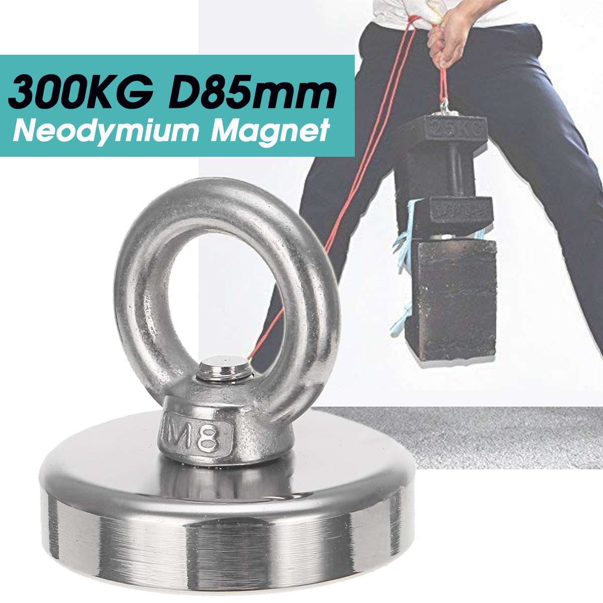 Super Strong D85mm 300KG Neodymium Fishing Diving Salvage Recovery Magnet For Detecting Metal Treasure Powerful Magnetic HolSuper Strong D85mm 300KG Neodymium Fishing Diving Salvage Recovery Magnet For Detecting Metal Treasure Powerful Magnetic Hol