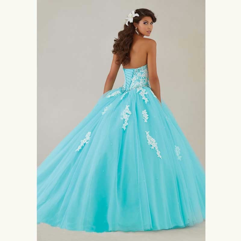 Vestidos Ve 15 Anos Strapless Ball Gowns Tulle Full Crystals Lace Champagne Quinceanera Dresses 2016 New Arrival Cheap Vestidos3_conew1