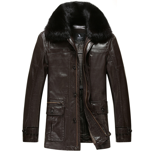Winter New Thick Warm Mens Leather Jacket High Quality Fur Collar Leather Jacket Fur Men