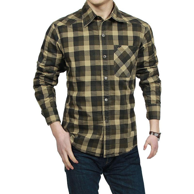Men Shirts Long Sleeve Regular Fit Cotton Plaid Man Shirt Casual Military Shirt for Men Work Shirts mens Clothing Army Green-in Casual Shirts from Men's Clothing on AliExpress - 11.11_Double 11_Singles' Day 1
