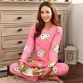 Новые женские пижамы сладкий хлопок Животных Мультфильм маленькая кошка Зима Пижамы Женщин Домашняя Одежда Домой Костюм Пижамы Пижамы