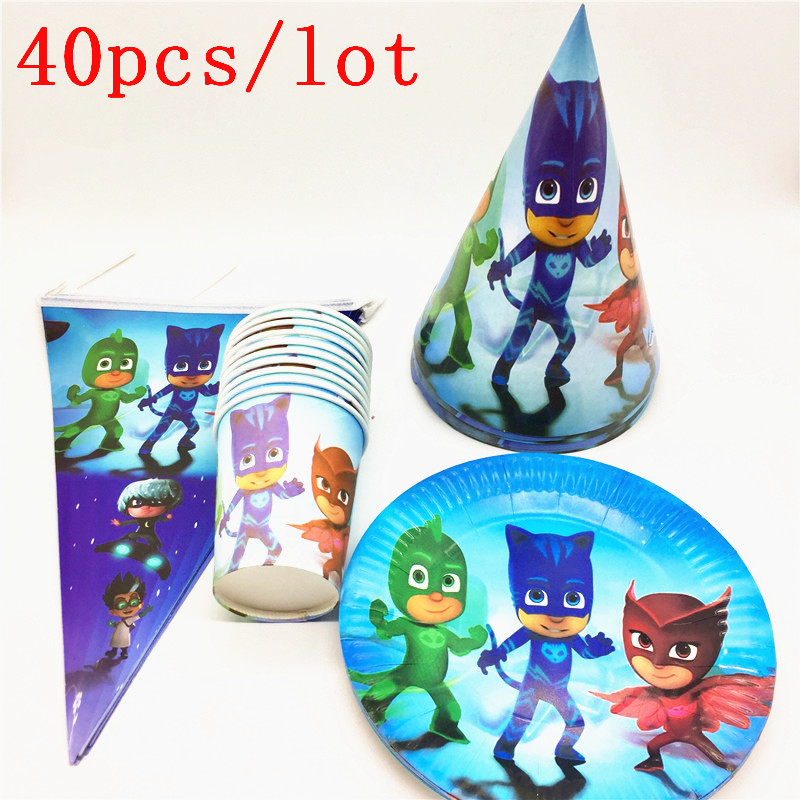 Cartoon PJ Masks Theme 40Pcs Kids Happy Birthday Decoration Caps Flags Plates Cups Party Supplies For 10 Persons For Party Time