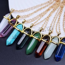 Top Selling 20 Colors ZA 2016 Bullet Natural Stone Necklace Pendant Amethyst Necklaces Lover Turquoise Crystal Gold/Silver Chain