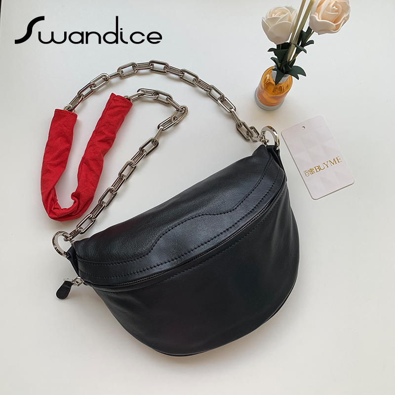 100 Natural Real Genuine Leather Thick Chain Chest Bags Crossbody Messenger Shoulder Bags Women Female Handbags