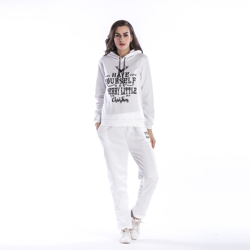 Antler Letter Printed Plus Velvet Women's Suit Hooded Two-piece Sports Suit