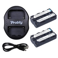 PROBTY 2Pcs NP F550 NP F570 F550 F530 Camera Battery Portable Dual USB Charger For SONY