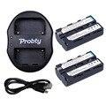 Probty 2 unids NP-F550 NP F570 F550 F530 batería de la cámara + Portable USB Dual del cargador para SONY HD1000C 198 P 190 P 2100E Z1C 7C 5C LED