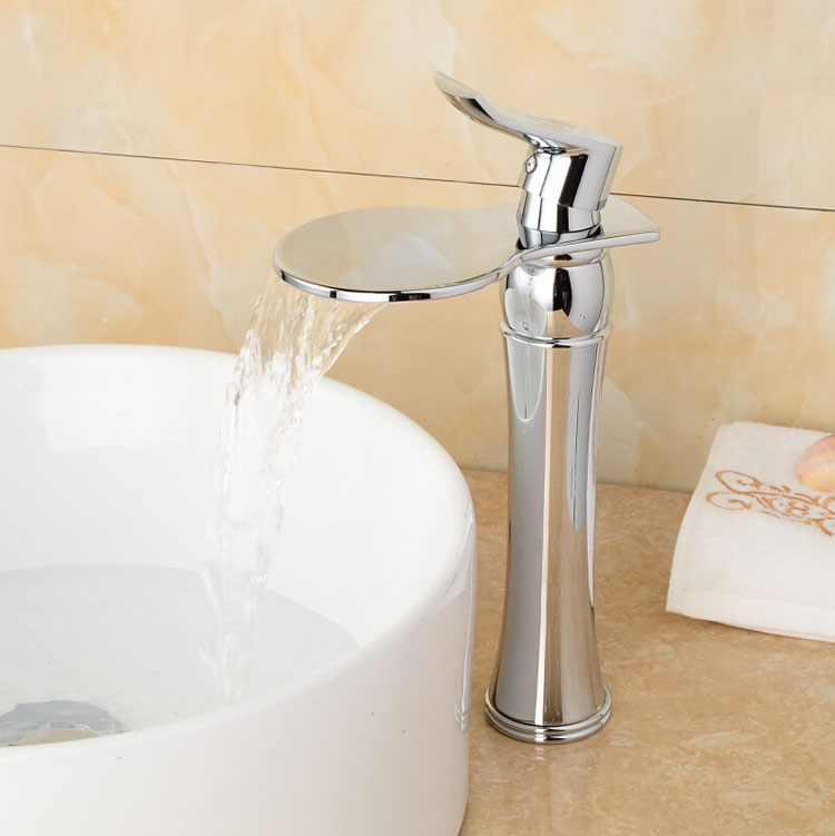Chrome Deck Mount Single Handle Waterfall Bathroom Sanitary Sink Faucet Deck Mount Hot Cold Water Taps deck mount single handle hot