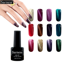 sarness brand 8ml 3D Cat Eye Gel Polish Nail Art professional Soak Off Led Uv Magnetic Gel Lacquer False Nails With Glue