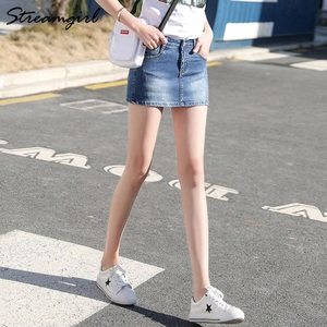 Image 4 - Streamgirl Denim Mini Saia Com Botões Frente Sexy Short Bandage Saia Bordado Com Shorts Jeans Mulheres Micro Mini Saias