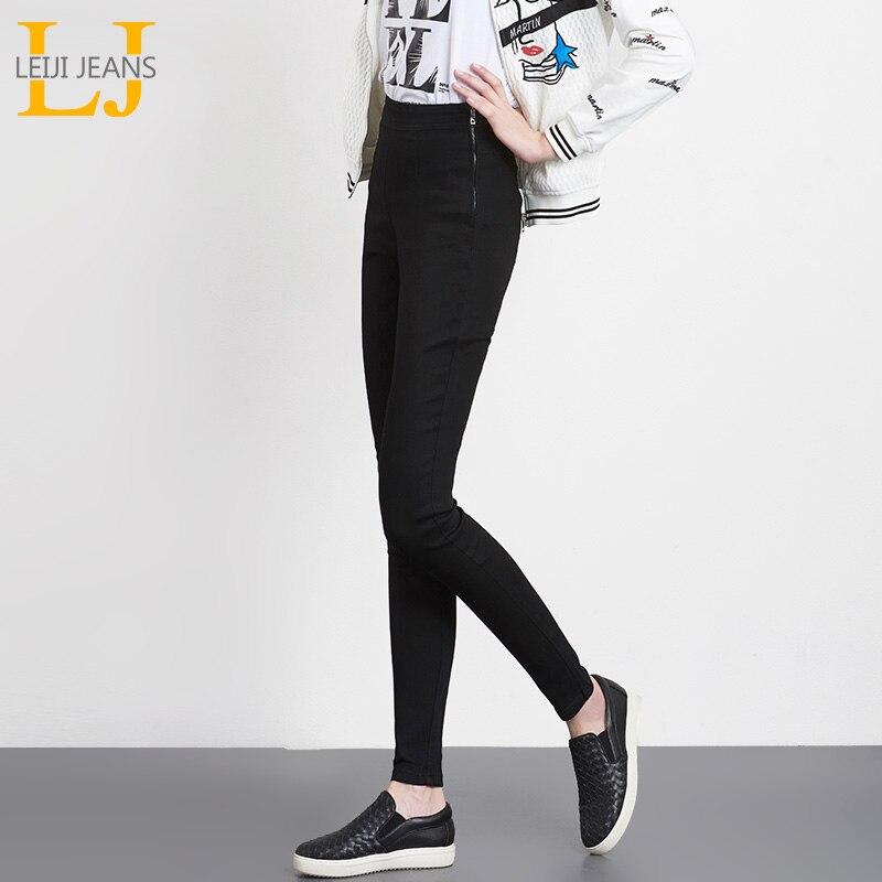 2018 Leiji Джинсы для женщин Весна 3 цвета плюс Размеры тянутся хорошо эластичный пояс боковой молнии Высокая Талия полной длины Для женщин узкие зауженные джинсы