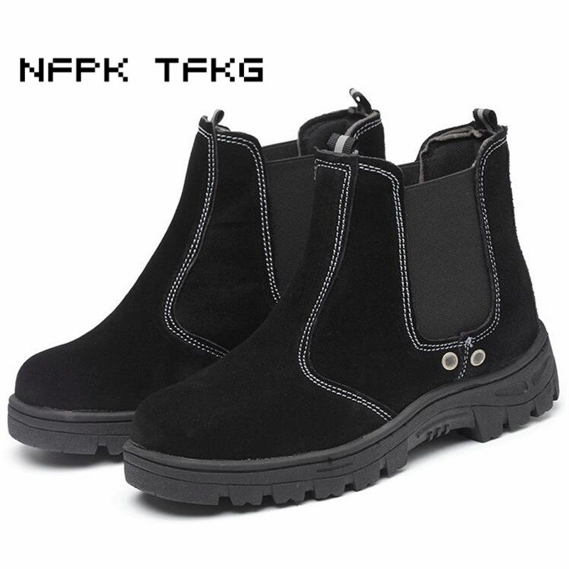 British fashion men big size breathable steel toe cap work safety tooling shoes cow suede leather security ankle chelsea boots все цены