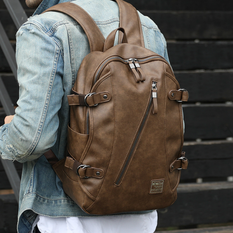 Backpack Men Air Cushion Belt Vintage Cell Phone Pocket Computer Interlayer Student Youth Brown Travelling BagBackpack Men Air Cushion Belt Vintage Cell Phone Pocket Computer Interlayer Student Youth Brown Travelling Bag