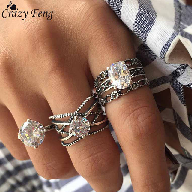 3Pcs/Lot Antique Silver Jewelry Vintage Ethnic Ring Sets Austrian Crytal Rhinest
