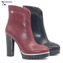 PU Platform Wine Red Black Women Ankle Boots Chunky Heel Fleece Super High Heel Autumn Winter