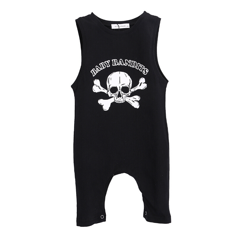 Sleeveless Skull Baby Boy Girl Summer Rompers Clothes Cotton Black Gray Baby Boy Clothing 2016 New Cotton Infant Kids Boys Girls