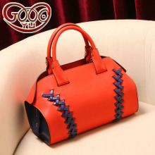 New Boston woven leather shoulder bag European and American style zipper fashion two-story leather women's bag