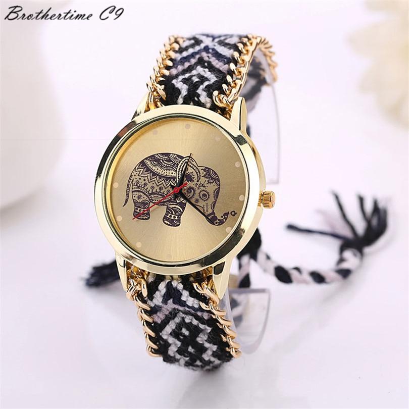 Jauns 2018. gada modes ikdienas DIY ziloņu rakstu sieviešu kleitu pulksteņu pulkstenis National Weave zelta rokassprādze montre femme Quartz Clock Relogio