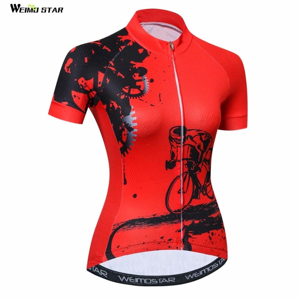 Women Cycling Clothing Jersey Sportswear Short Sleeve Top Shirt With Hidden Zip