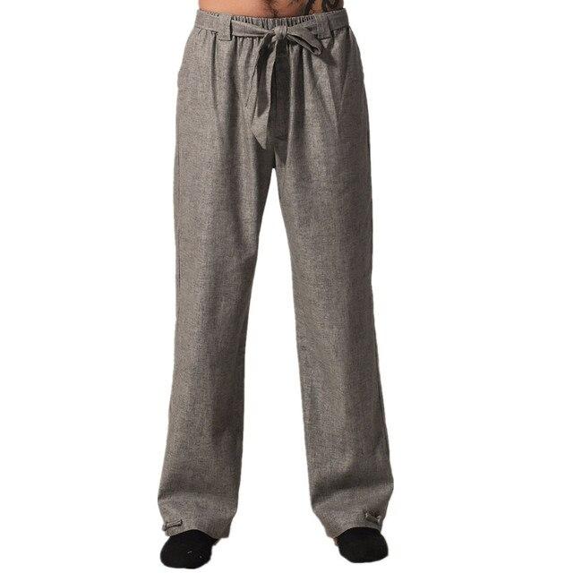 US $24.28 49% di SCONTO Di alta Qualità Grigio degli uomini Cinesi di Kung Fu Pantaloni di Cotone Pantaloni di Lino Wu Shu Abbigliamento Taglia S M L