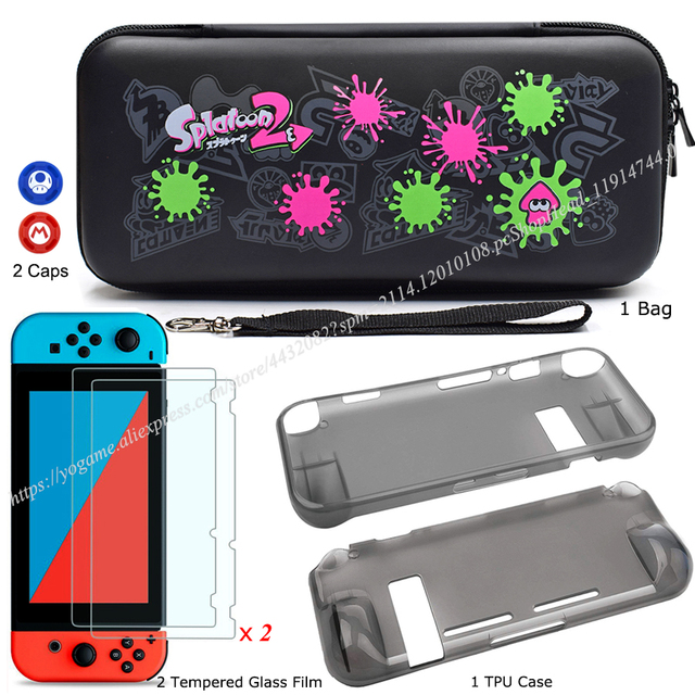 Nintendos Switch Storage Carrying Case + Nintend Switch Screen Protetor Galss Film + Soft TPU Case for Nintendo Accessories   2