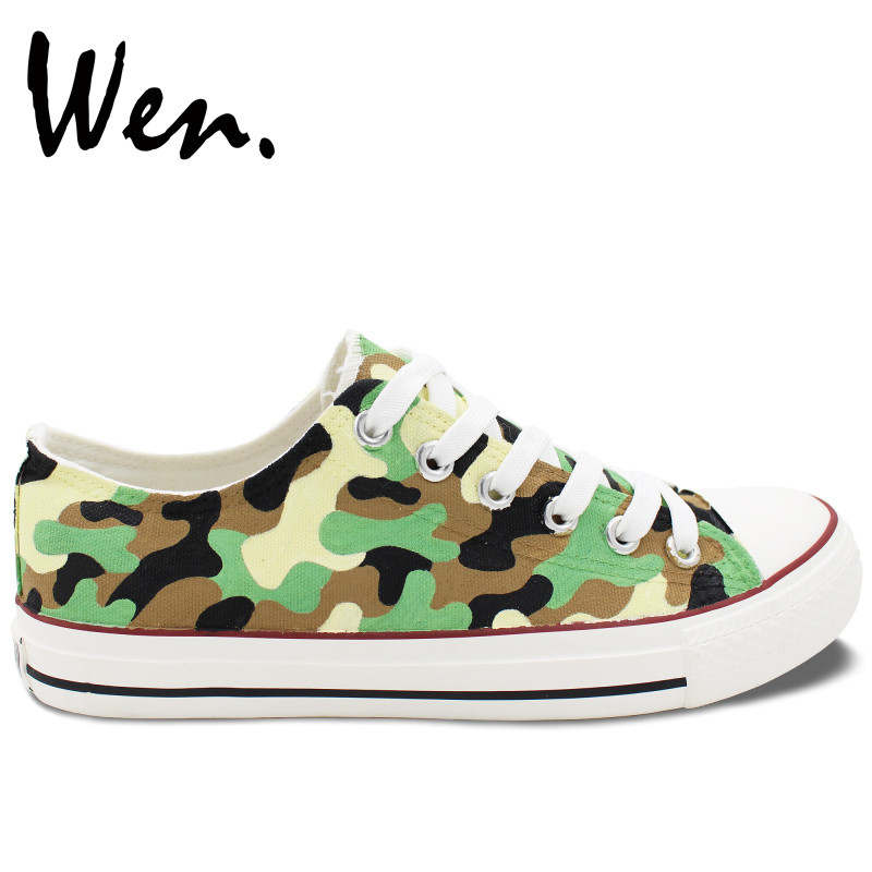 Wen Original Design Hand Painted Shoes Custom Army Camouflage Pattern Low Top Casual Canvas Sneakers for Man Woman Presents wen mexican style skulls totem original design hand painted shoes for men woman slip ons custom canvas sneakers