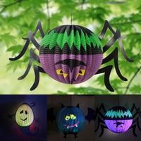 Hot Halloween Pumpkin Ghost Bat Spider Witch Paper Lantern Decorated Props Halloween Night Decoration Hanging Ornaments