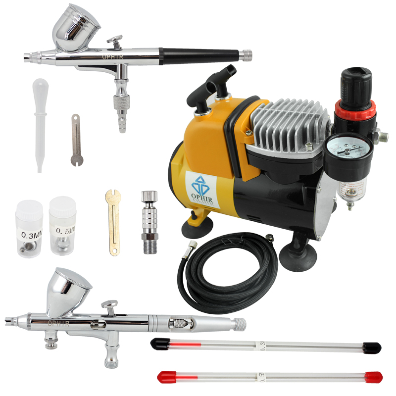 OPHIR Professional Dual Action Airbrush Compressor Kit with Air Tank for Cake Decorating Model Hobby Tattoo _AC053+AC004+AC070 ophir temporary tattoo tool dual action airbrush kit with air tank compressor for model hobby cake paint nail art ac090 ac004